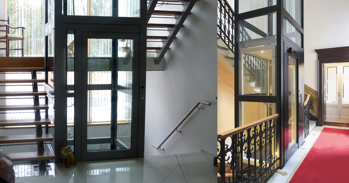 Home Lifts with Enclosures in either glass, steel or a combination of both
